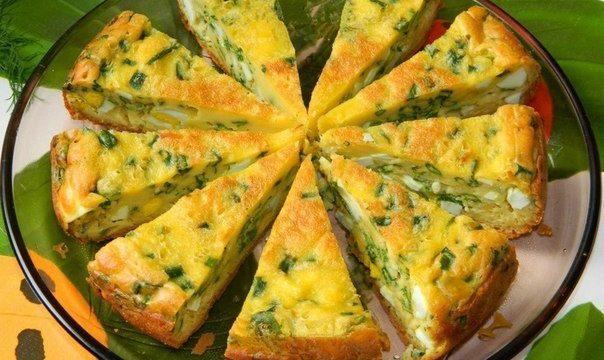 Царский пирог с яйцами и зеленым луком